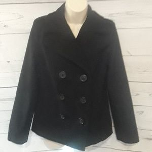 [OLD NAVY] Wool Doubled Breasted Black Peacoat